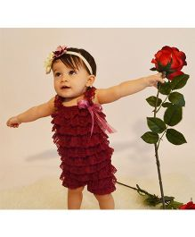 Dazzling Dolls Lace Romper With Matching Headband - Maroon