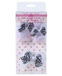 Dazzling Dolls Designer Bow Socks & Headband Gift Set - White
