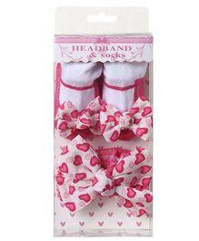 Dazzling Dolls Designer Heart Print Bow Socks & Headband Gift Set - White