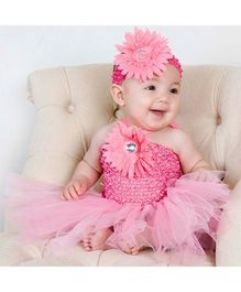 Dazzling Dolls Sunflower Applique Tutu Dress With Matching Headband - Rose Pink