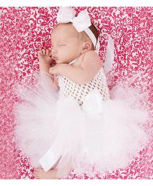 Dazzling Dolls Bow Applique Tutu Dress With Matching Headband - White