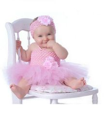 Dazzling Dolls Flower Applique Tutu Dress With Matching Headband - Pink