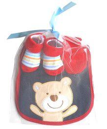 Dazzling Dolls Teddy Design Socks Mittens & Bib Gift Set - Red