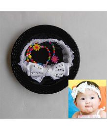 Dazzling Dolls Party Lace Headband With Studded Bow - White
