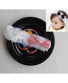 Dazzling Dolls Party Lace Headband With Bow - White & Pink