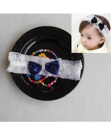 Dazzling Dolls Party Lace Headband With Bow - White & Blue