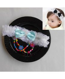 Dazzling Dolls Party Lace Headband With Bow - White & Aqua Blue