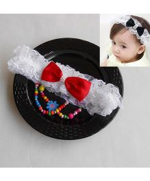Dazzling Dolls Party Lace Headband With Bow - White & Red