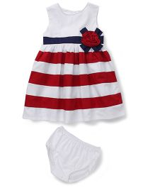 Sarah And Sherry Stripe Print Flower Design Dress With Bloomer - Red