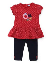 Sarah And Sherry Bird Detailing Top With Leggings - Red & Dark Blue