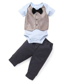 Sarah And Sherry Half Sleeves Onesie With Pant - Light Blue & Grey
