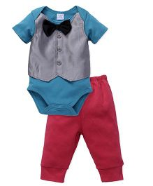 Sarah And Sherry Onesie With Bow & Pant Set - Greenish Blue & Red