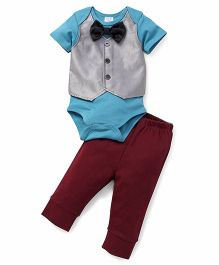 Sarah And Sherry Onesie With Bow & Pant Set - Greenish Blue & Maroon
