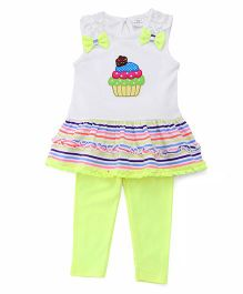 Sarah And Sherry Ice Cream Embroidered Top With Leggings - Off White & Yellow