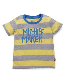 Bodycare Half Sleeves Stripe T-Shirt Mischief Maker Print - Yellow Grey
