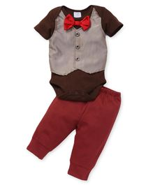 Sarah And Sherry Onesie With Bow & Pant Set - Red