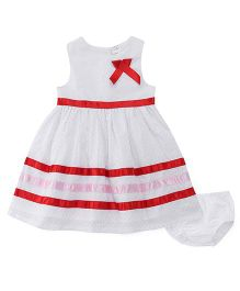 Sarah And Sherry Dot Print Dress With Bloomer - Red & White