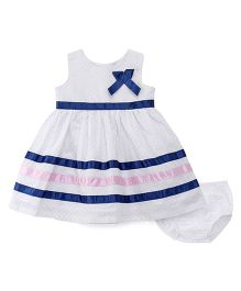Sarah And Sherry Dot Print Dress With Bloomer - Dark Blue & White