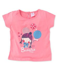 Smarty Half Sleeves Top Bubbles Print - Pink
