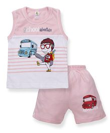 Cucumber Sleeveless T-Shirt And Shorts School Adventure Print - White Pink