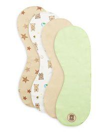 FS Mini Klub Burp Cloth Set Of 4 - Beige White Green