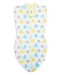 FS Mini Klub Swaddle Pod Elephant Print - White Yellow
