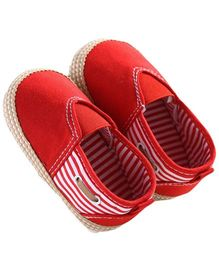Wow Kiddos Stylish Striped Booties - Red