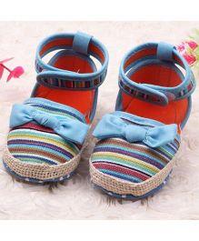 Wow Kiddos Bow Applique Striped Sandal - Multicolor