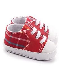 Wow Kiddos Checkered Tie Up Booties - Red
