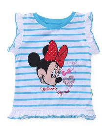 Bodycare Sleeveless Tee Minnie Mouse Print - Sky Blue White