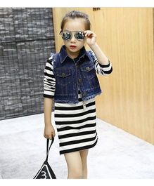 Funky Baby Fitted Stripe Dress With Denim Jacket - White & Blue