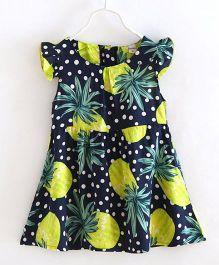 Funky Baby Cap Sleeves Pineapple Printed Dress - Navy Blue
