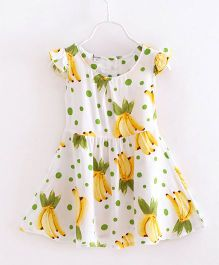 Funky Baby Cap Sleeves Banana Printed Dress - White