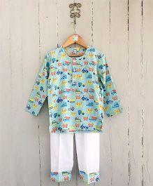 Frangipani Kids Construction Work Shirt & Pajama Set - Blue & White
