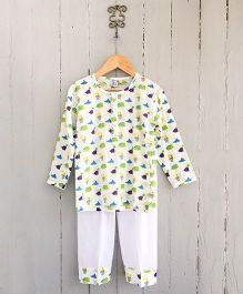 Frangipani Kids Dino Shirt & Pajama Set - White