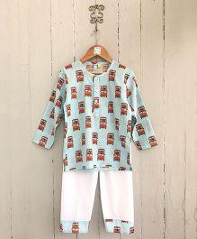 Frangipani Kids Bus Print Shirt & Pajama Set - Blue
