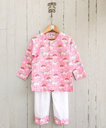 Frangipani Kids Unicorn Dreams Shirt & Pajama Set - Pink & White