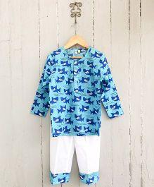 Frangipani Kids Shark Print Shirt & Pajama Set - Blue & White