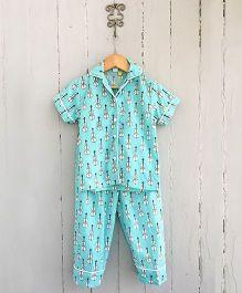 Frangipani Kids Guitar Print Shirt & Pajama Night Wear - Blue
