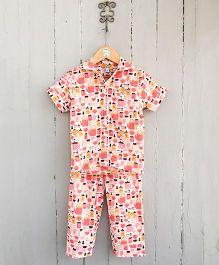 Frangipani Kids Tea Party Print Shirt & Pajama Night Set - Multicolour