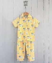 Frangipani Kids Scooter Ride Shirt & Pajama Night Suit - Yellow
