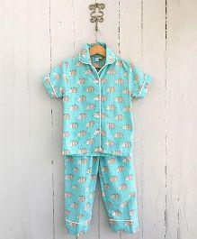 Frangipani Kids Hedgehog Print Shirt & Pajama Night Wear - Blue