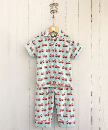 Frangipani Kids Fire Truck Print Shirt & Pajama Night Dress - Green