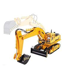 Emob Full Function 8 Channel RC Hydraulic Excavator & Bulldozer Construction Vehicle Toy - Yellow