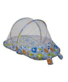 Amardeep Baby Mattress With Mosquito Net Multi Print - Blue