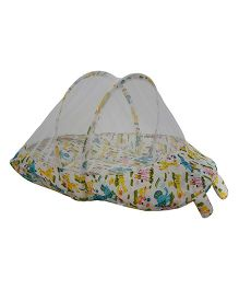Amardeep Baby Mattress With Mosquito Net Multi Print - White