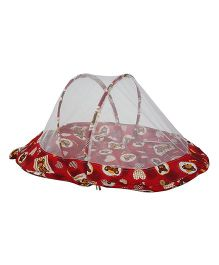 Amardeep Baby Mattress With Mosquito Net Teddy Print - Red