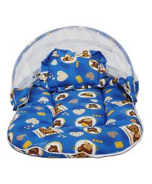 Amardeep Baby Mattress With Mosquito Net Teddy Print - Blue