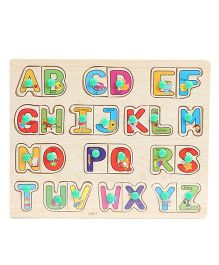 Playmate Wooden Alphabet Puzzle With Pegs - Multicolor