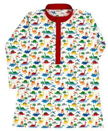 Raghav Dinosaur Print Kurta For Boys - White